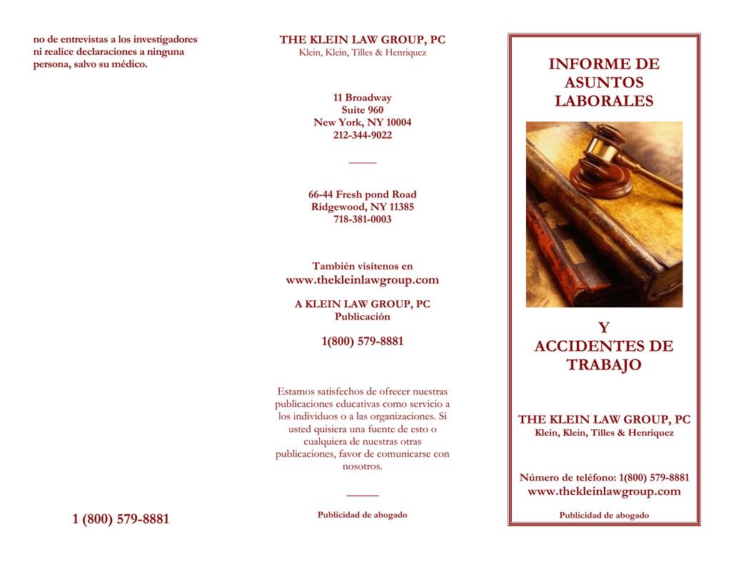 informe de asuntos laborales y accidentes de trabajo