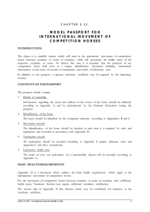 model passport for international movement of competition horses