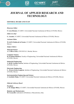 JOURNAL OF APPLIED RESEARCH AND TECHNOLOGY