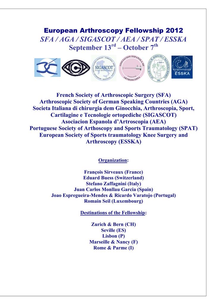 european arthroscopy fellowship 2012