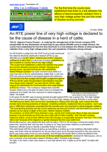 An RTE power line of very high voltage is declared to be - Next-up