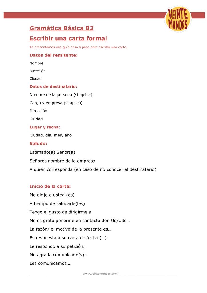 Gramatica Basica B2 Escribir Una Carta Formal