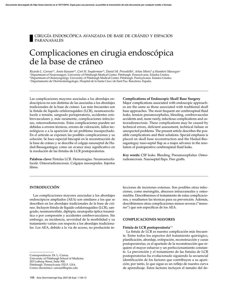 Complicaciones en cirugia endoscópica de la base de