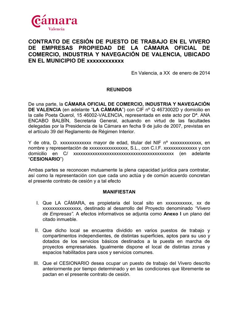 Modelo de contrato - Cámara de Comercio de Valencia