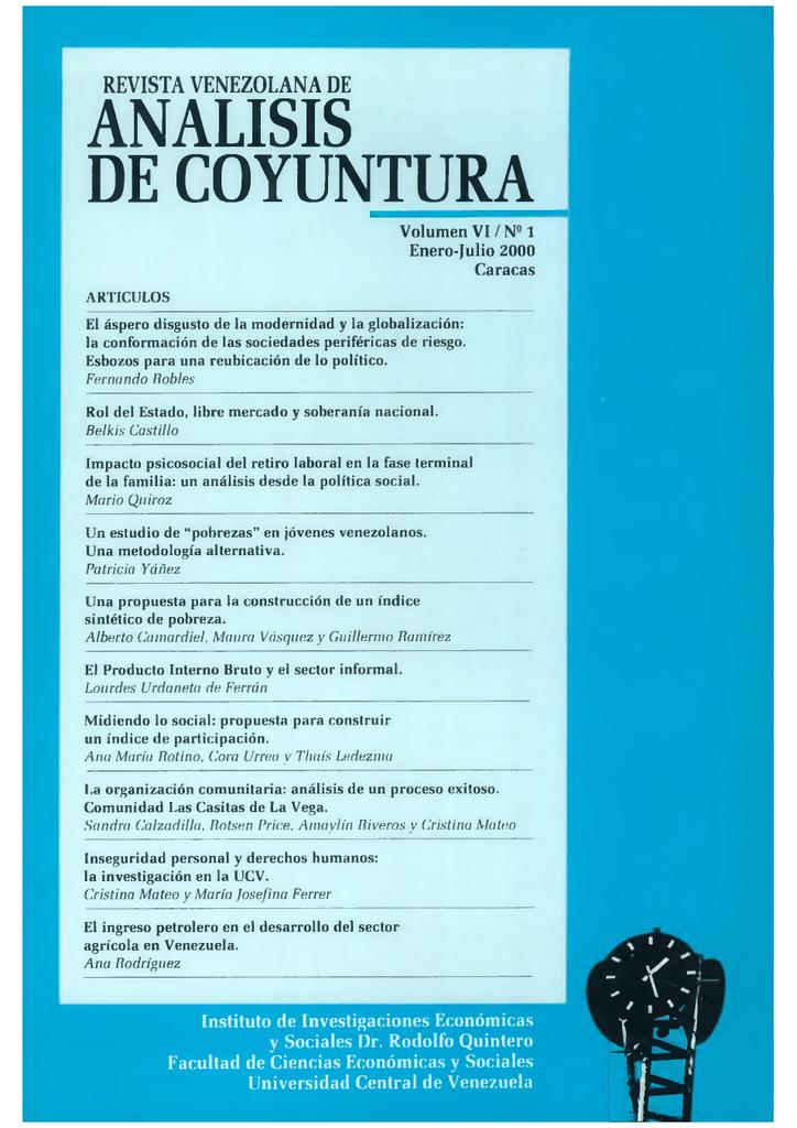 Análisis De Coyuntura Volumen Vi Nº 1 Enero