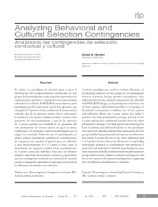 Analyzing Behavioral and Cultural Selection Contingencies