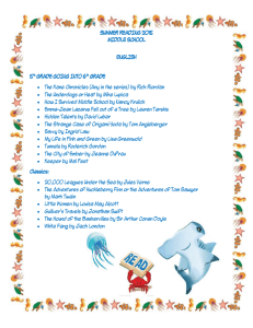 SUMMER READING 2015 MIDDLE SCHOOL ENGLISH 5th GRADE