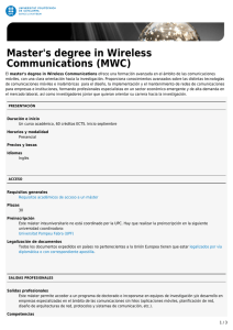 Master`s degree in Wireless Communications (MWC)