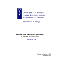 Documentos de trabajo Spatial price and imperfect competition in