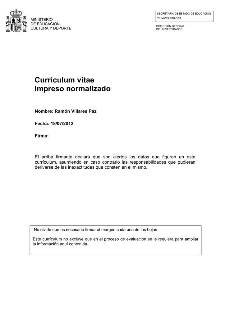 Currículum vitae Impreso normalizado - Histagra