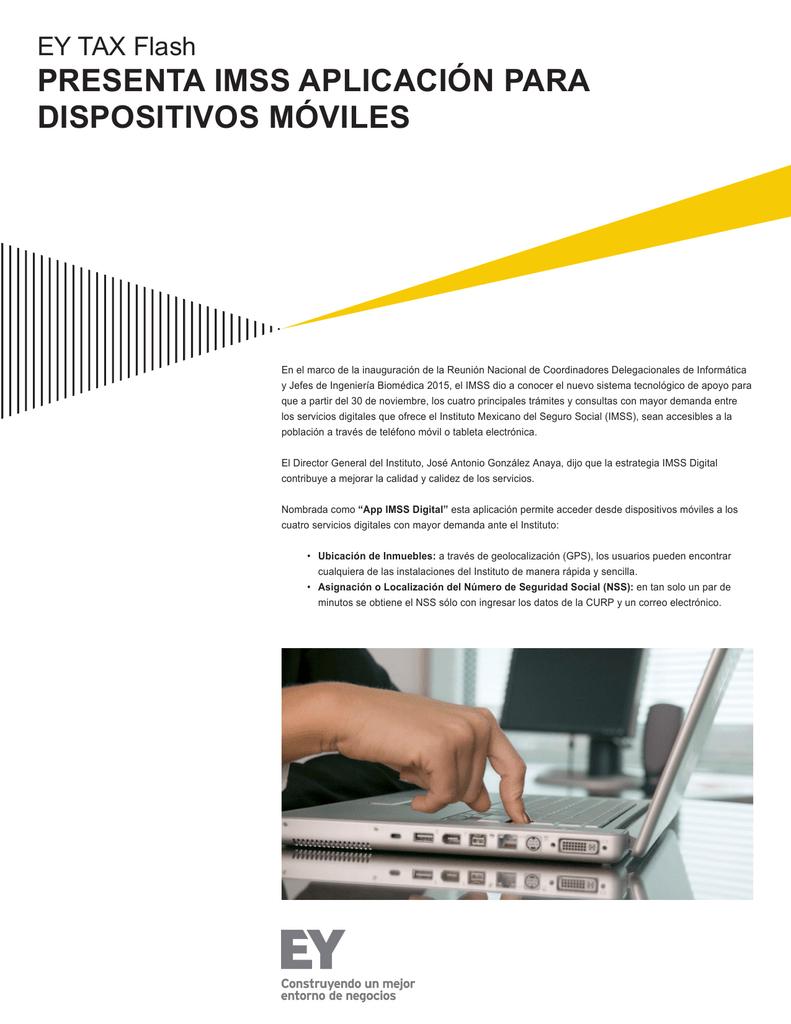EY Tax Flash - Presenta IMSS aplicación para dispositivos móviles