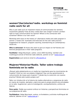 women*(her)stories*radio. workshop on feminist radio work for all