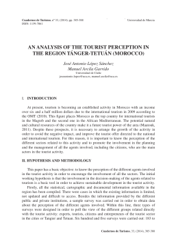 an analysis of the tourist perception in the region tánger