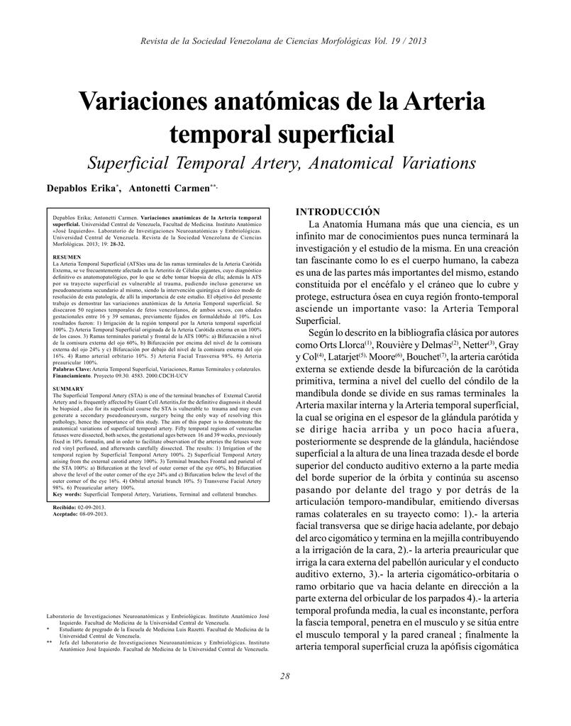 Variaciones anatómicas de la Arteria temporal superficial