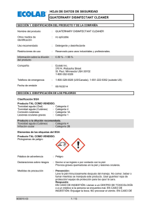 hoja de datos de seguridad quaternary disinfectant cleaner