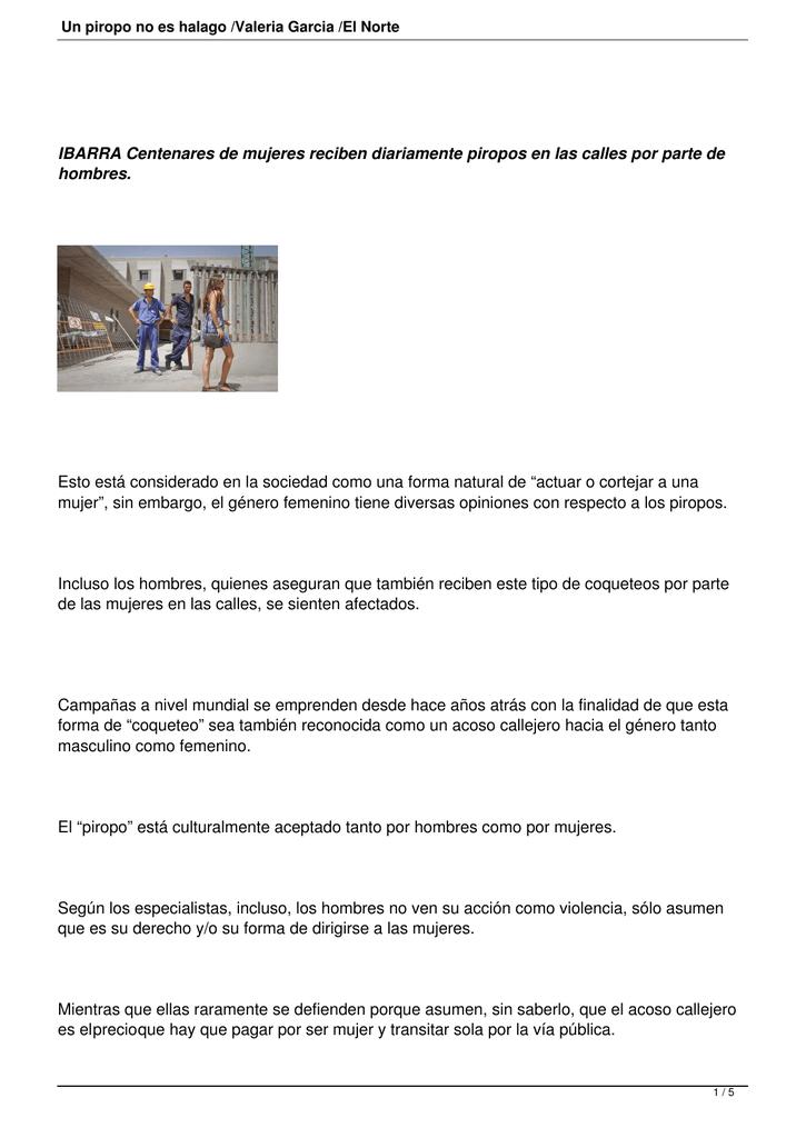 Un Piropo No Es Halago Valeria Garcia El Norte