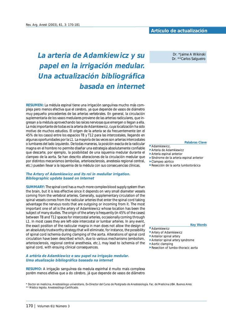 La arteria de Adamkiewicz y su papel en la irrigación medular. Una