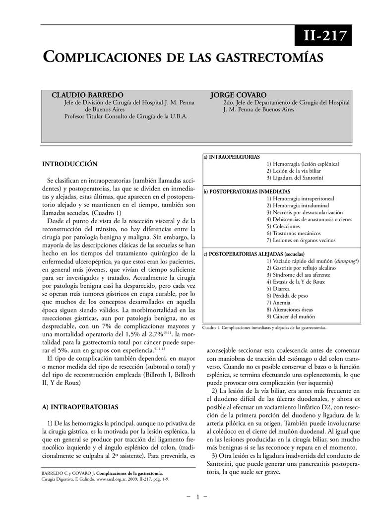 Complicaciones de las gastrectomías.