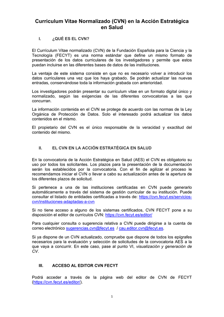 Curriculum Vitae Normalizado (CVN) en la Acción Estratégica en