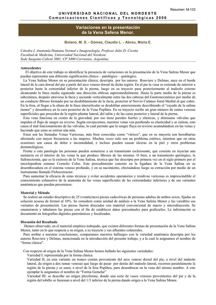 Variaciones en la presentación de la Vena Safena Menor.