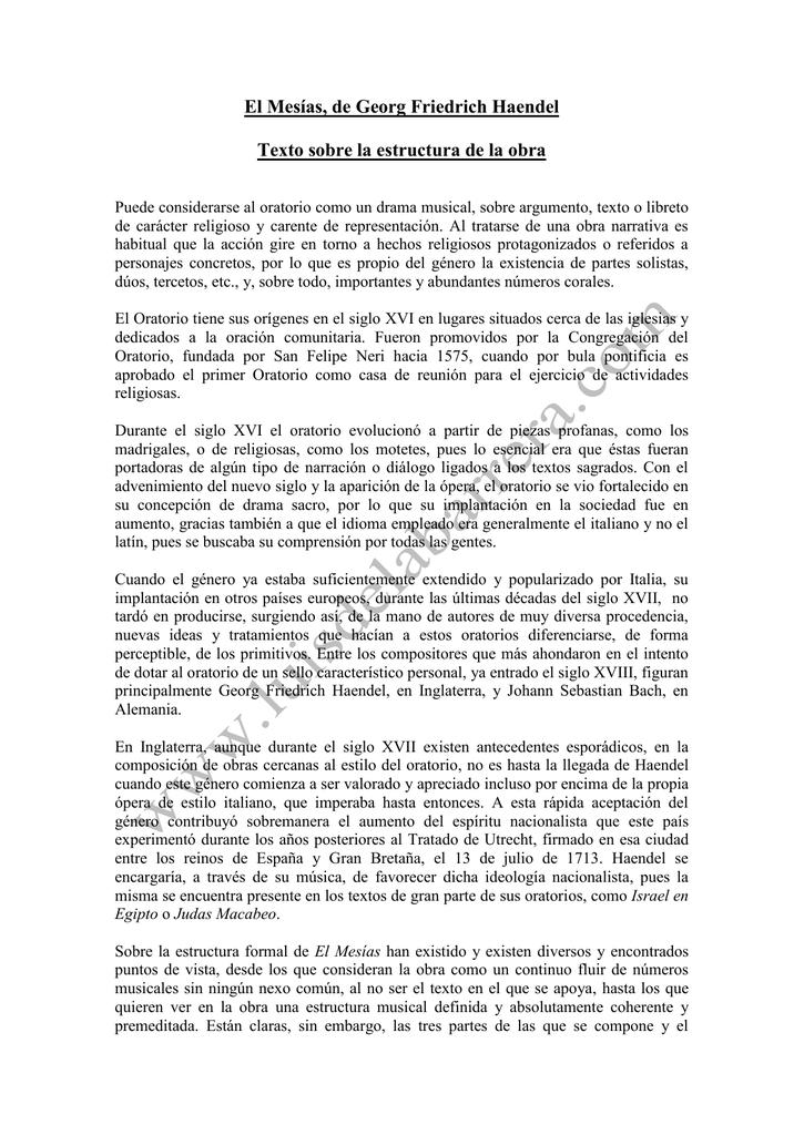 El Mesías De Georg Friedrich Haendel Texto Sobre La