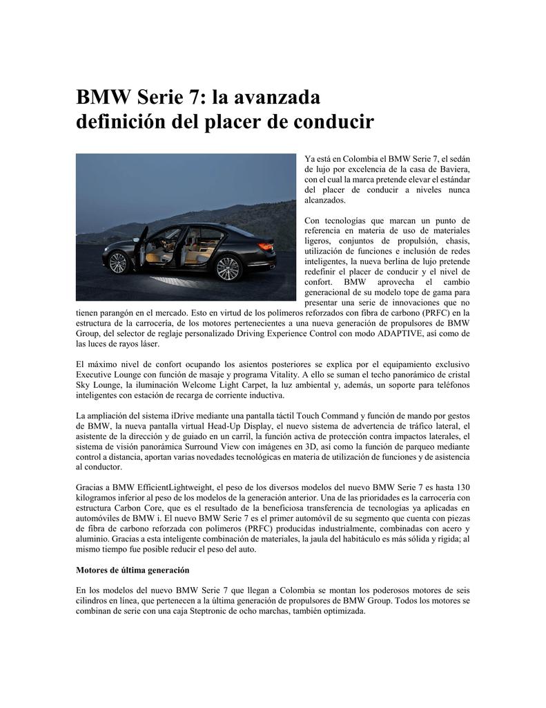 BMW Serie 7: la avanzada definición del placer de conducir