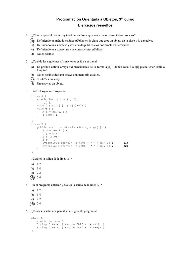 Programación Orientada a Objetos, 3er curso Ejercicios resueltos