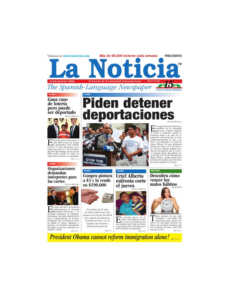 Piden detener deportaciones - La Noticia - The Spanish