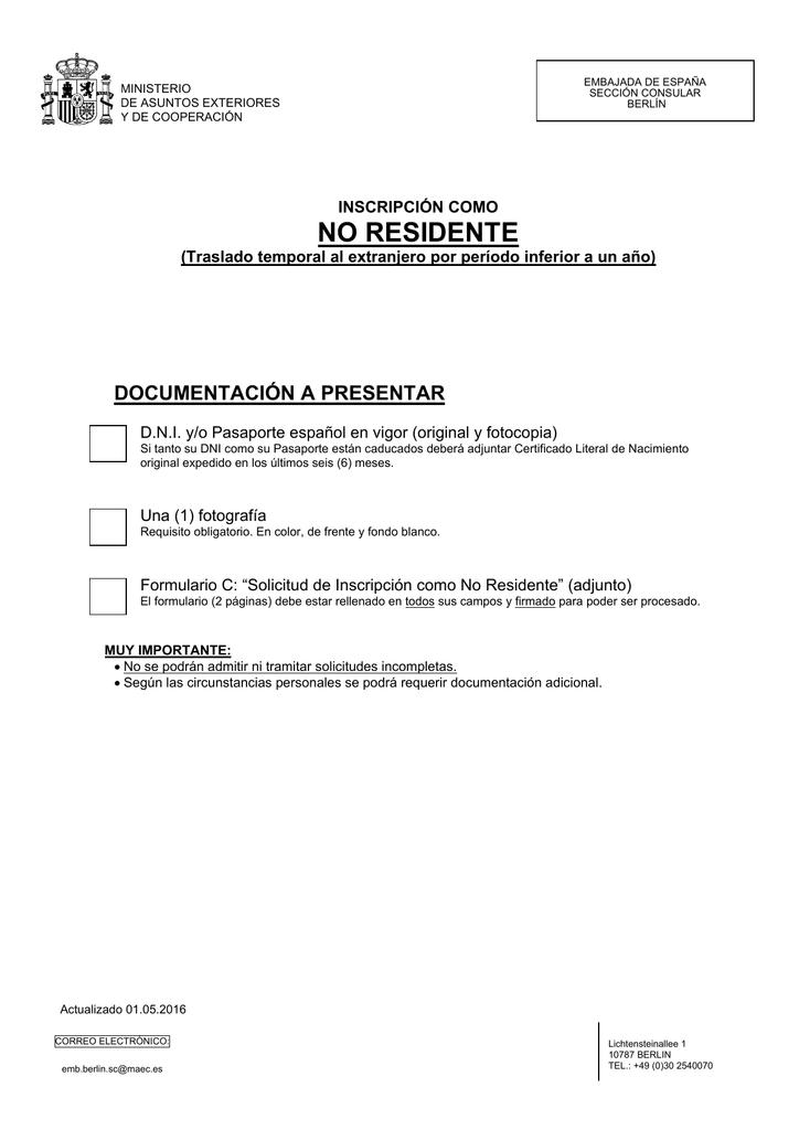 Solicitud de inscripción como NO-RESIDENTE