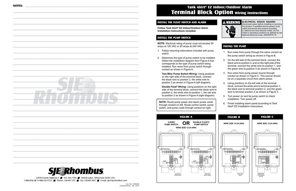 Terminal Block Option Wiring instructions on