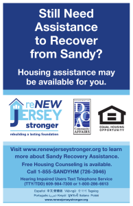 Still Need Assistance to Recover from Sandy? Housing assistance