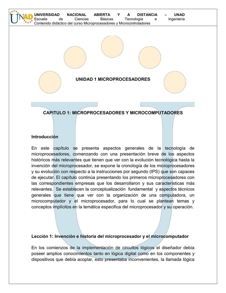 UNIDAD 1 MICROPROCESADORES CAPITULO 1