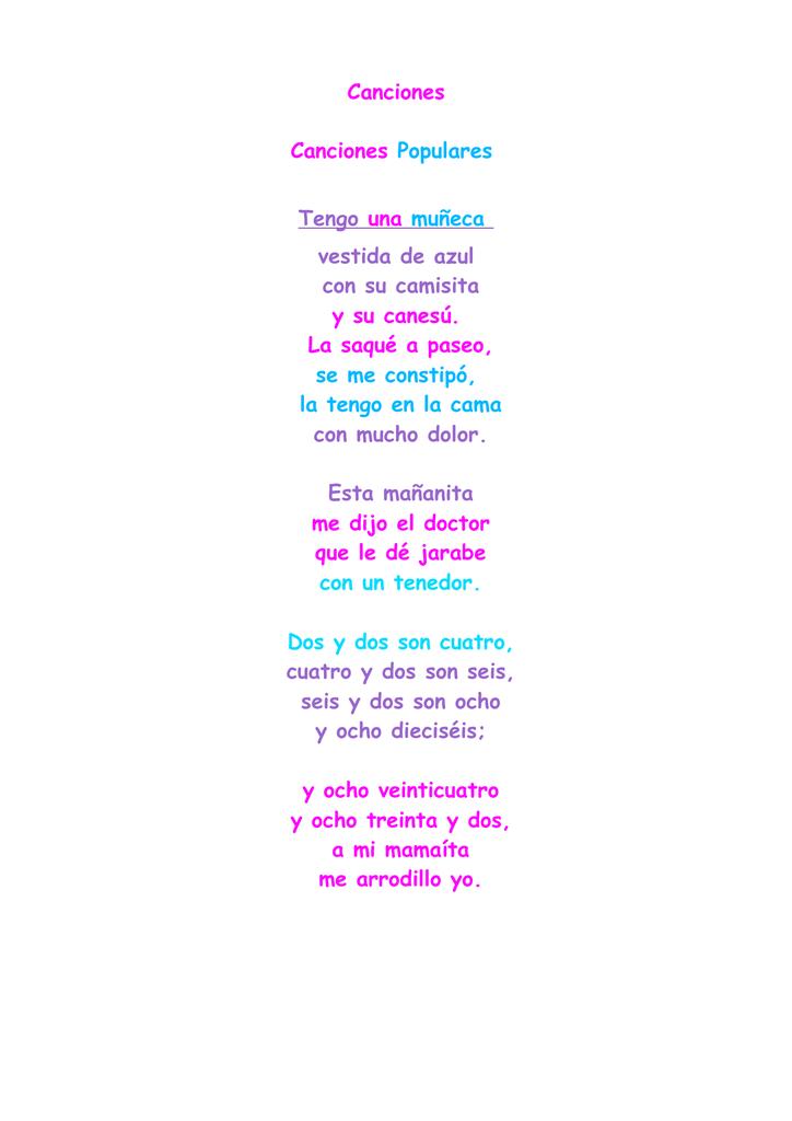 Canciones Canciones Populares Tengo Una Muñeca Vestida De