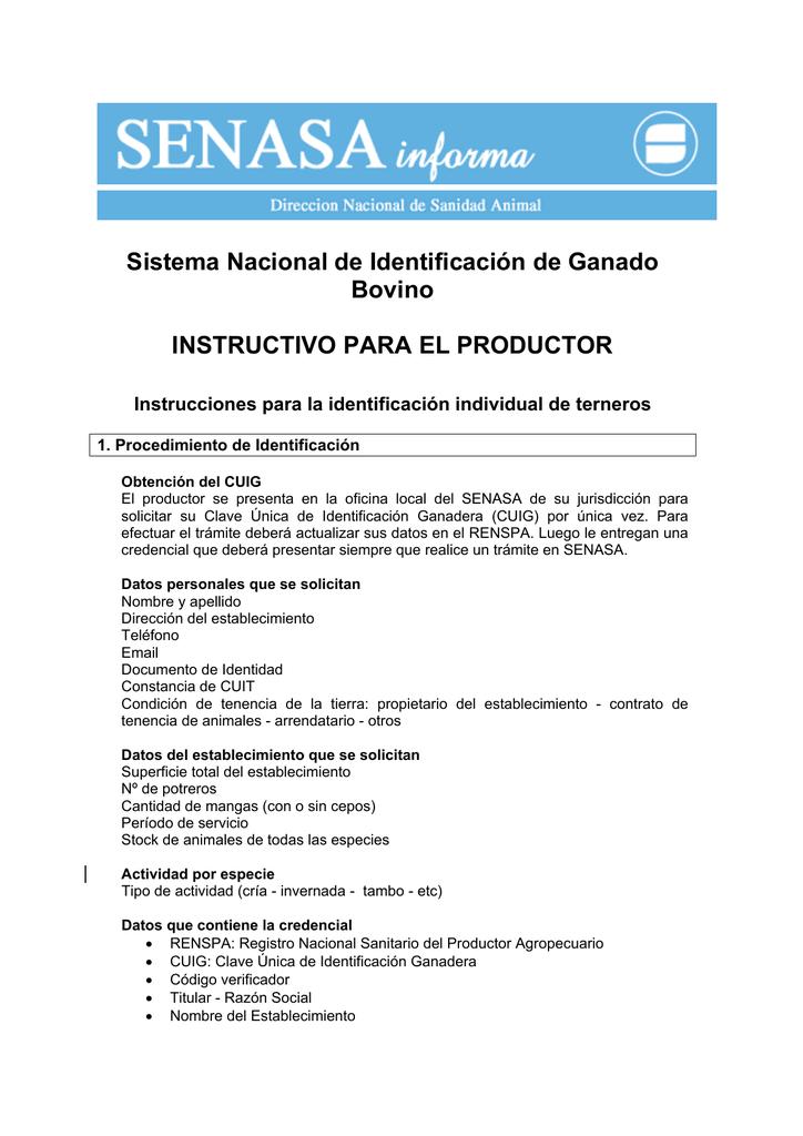69d1213c8002 Sistema Nacional de Identificación de Ganado Bovino INSTRUCTIVO PARA EL  PRODUCTOR Instrucciones para la identificación individual de terneros 1.