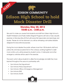 Edison High School to hold Mock Disaster Drill