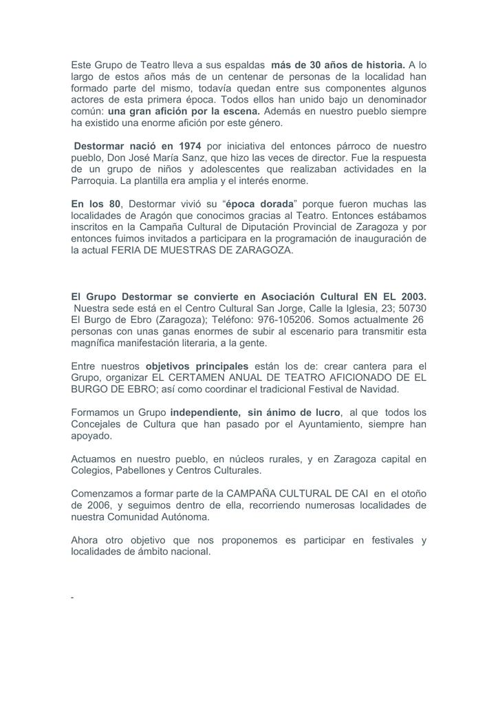 """Historia del Grupo de Teatro """"Destormar"""""""