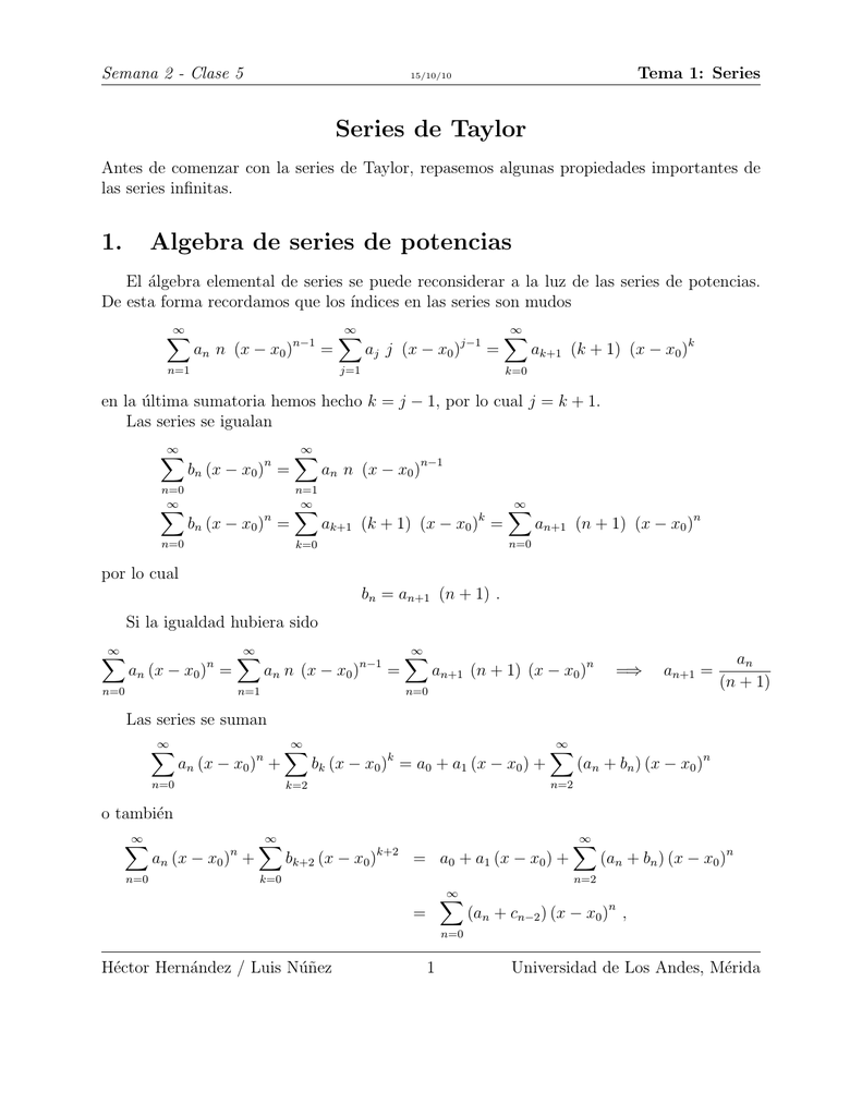 Series De Taylor 1 Algebra De Series De Potencias