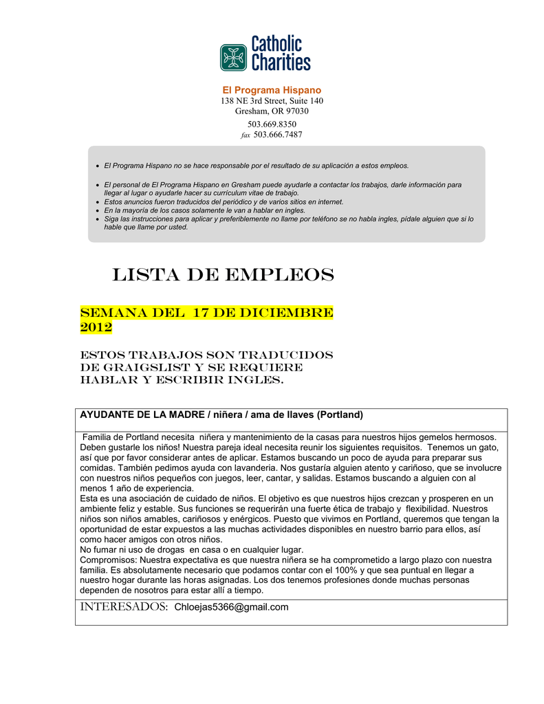 LiSTA DE EMPLEOS - Catholic Charities