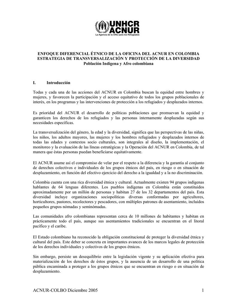 Enfoque Diferencial Étnico del ACNUR Colombia. Estrategia de