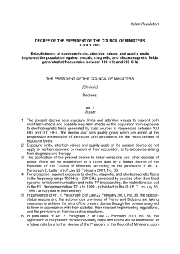 decree of the president of the council of ministers 8 july 2003