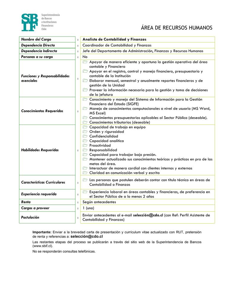 Perfil Analista de Contabilidad y Finanzas