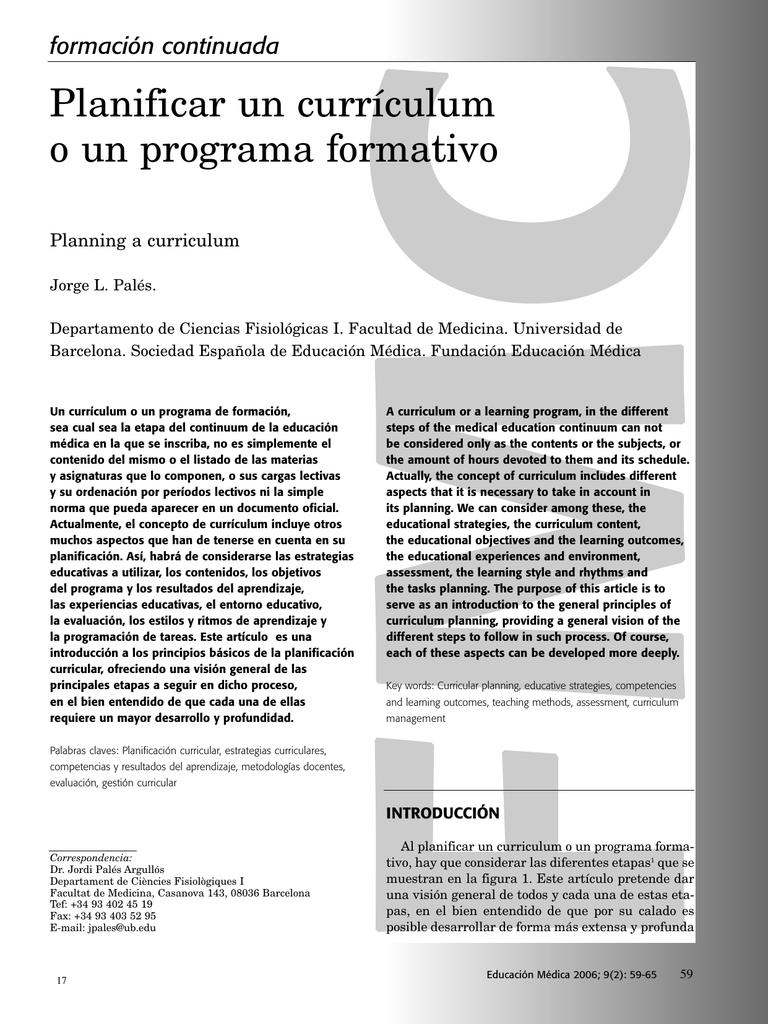 Planificar un currículum o un programa formativo