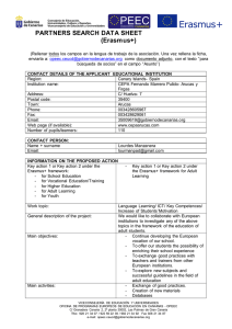 PARTNERS SEARCH DATA SHEET (Erasmus+)