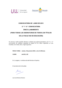 CONVOCATORIA DE JUNIO DE 2015 5.ª Y 6.ª CONVOCATORIA