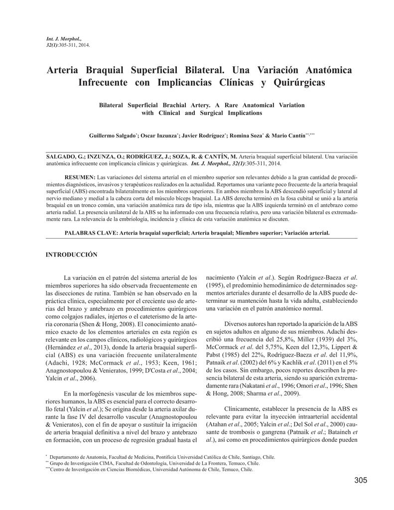 Arteria Braquial Superficial Bilateral. Una Variación Anatómica