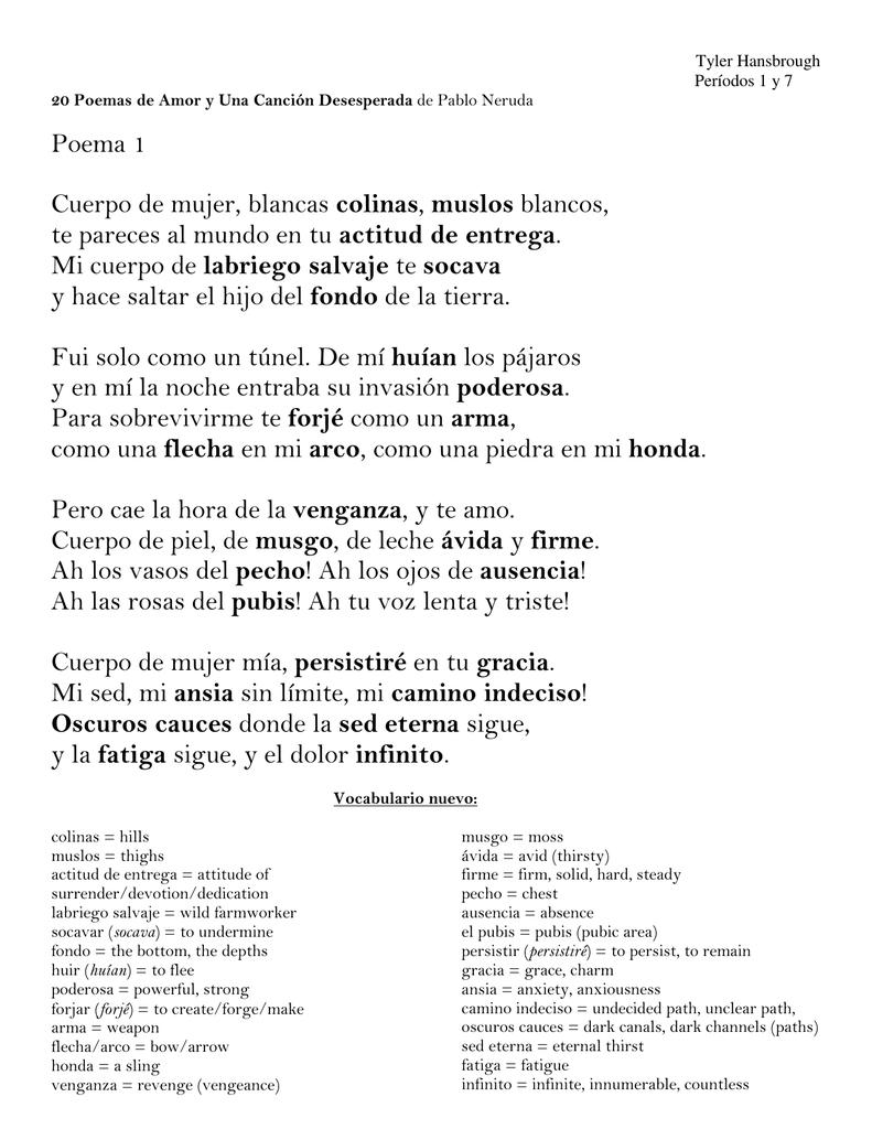Poema 1 Cuerpo De Mujer Blancas Colinas Muslos Blancos Te