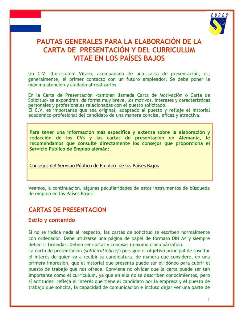 Cv Y Carta De Presentación Para Holanda