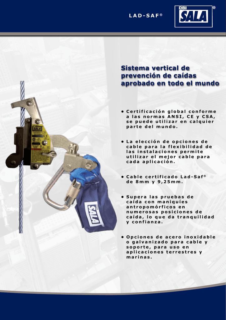 sistema vertical de prevención de caídas aprobado en todo el mundo