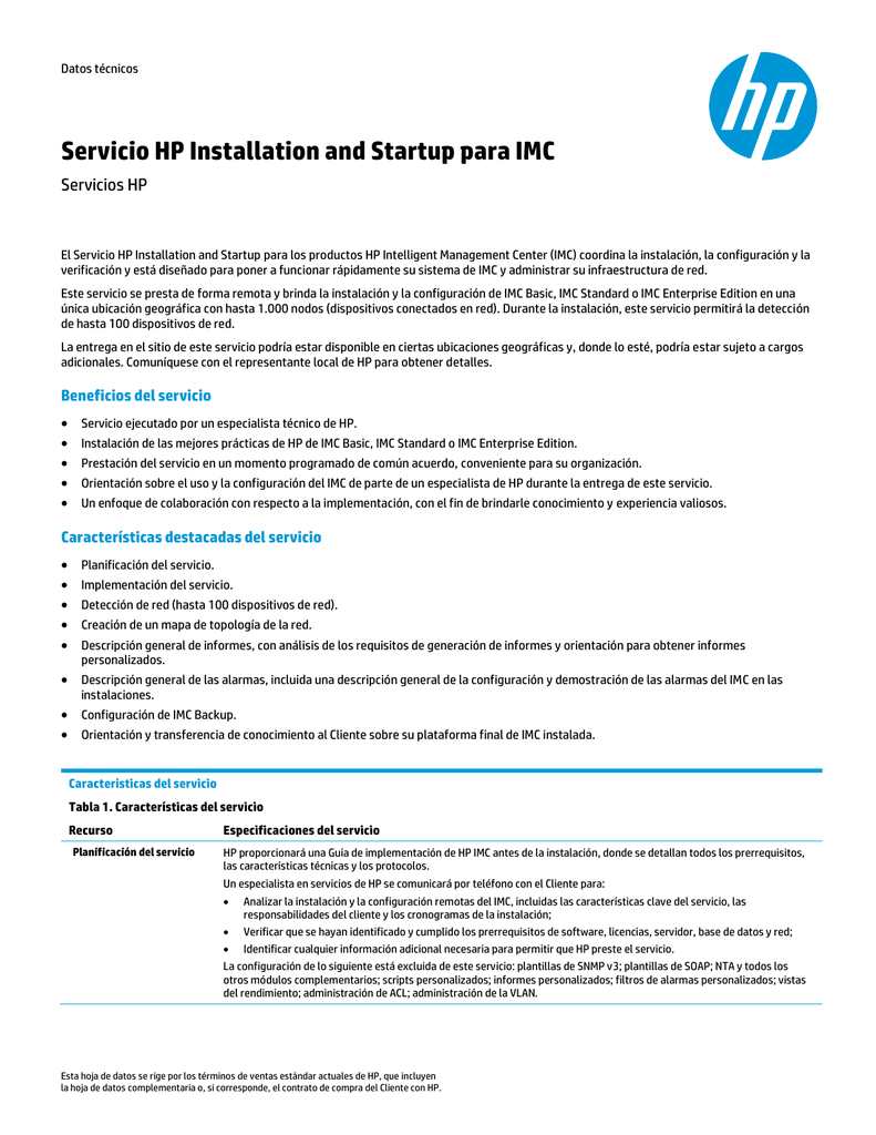 Document Name: HP Installation and Startup Service for HP Server