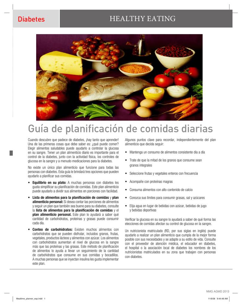 plan de comidas diarias para diabetes